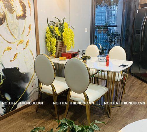 Bàn giao bộ bàn ghế ăn Inox cao cấp